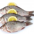 Fresh fishes with lemon isolated on white — Stock Photo