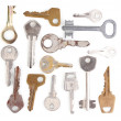 Many metal keys isolated on white — Stock Photo #10347124