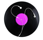 Schwarz-vinyl-lp und kopfhörer, die isoliert auf weiss — Stockfoto
