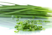 Green onion isolated on white close-up — Stock Photo