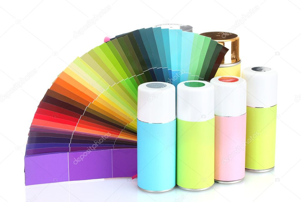 Aerosol cans and bright paper palette isolated on white  Stock Photo #10347456