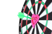 Darts with stickers depicting the life values close-up on white background — Stock Photo