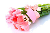 Beautiful pink tulips isolated on white — Foto de Stock