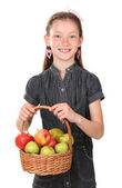 Beautiful little girl holding basket of apples isolated on white — Stock Photo
