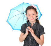 Portrait of beautiful little girl with umbrella Isolated on white — Stock Photo
