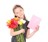 Portrait of beautiful little girl with tulips and postcard isolated on white — Stock Photo