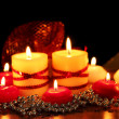 Beautiful candles and decor on wooden table on bright background -  