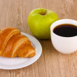 Classical breakfast. Coffee and croissant — Stock Photo