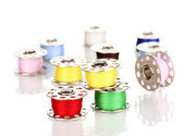 Metal spools of thread isolated on white — Stock Photo