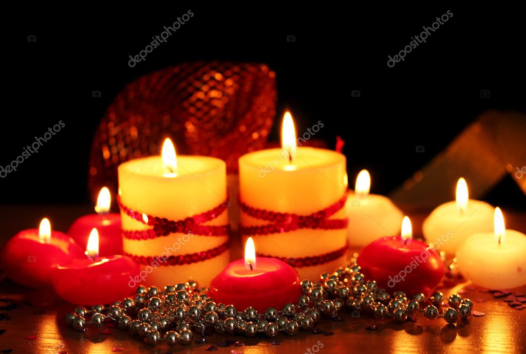 Beautiful candles and decor on wooden table on bright background — Stock Photo #10404622