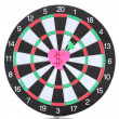 Darts with stickers depicting the life values isolated on white. The darts hit the target. - Zdjęcie stockowe
