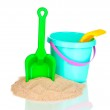 Childrens beach toys and sand isolated on white — Stock Photo #10417610