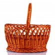 Empty wicker basket isolated on white - Stok fotoğraf