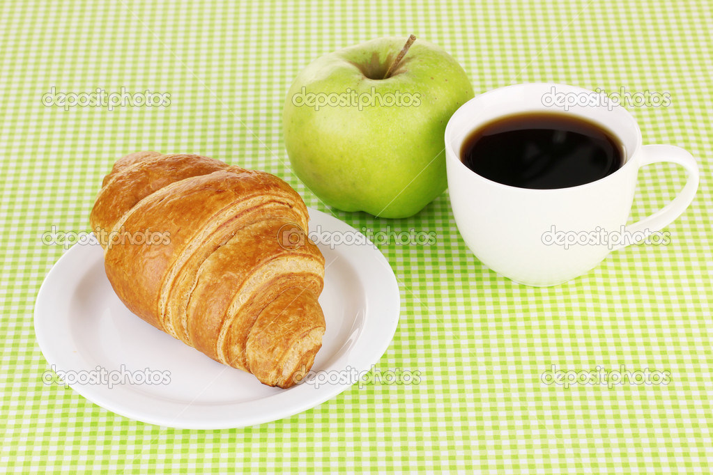 Classical breakfast. Coffee and croissant  Stock Photo #10430401
