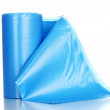 Roll of blue garbage bags isolated on white — Stock Photo
