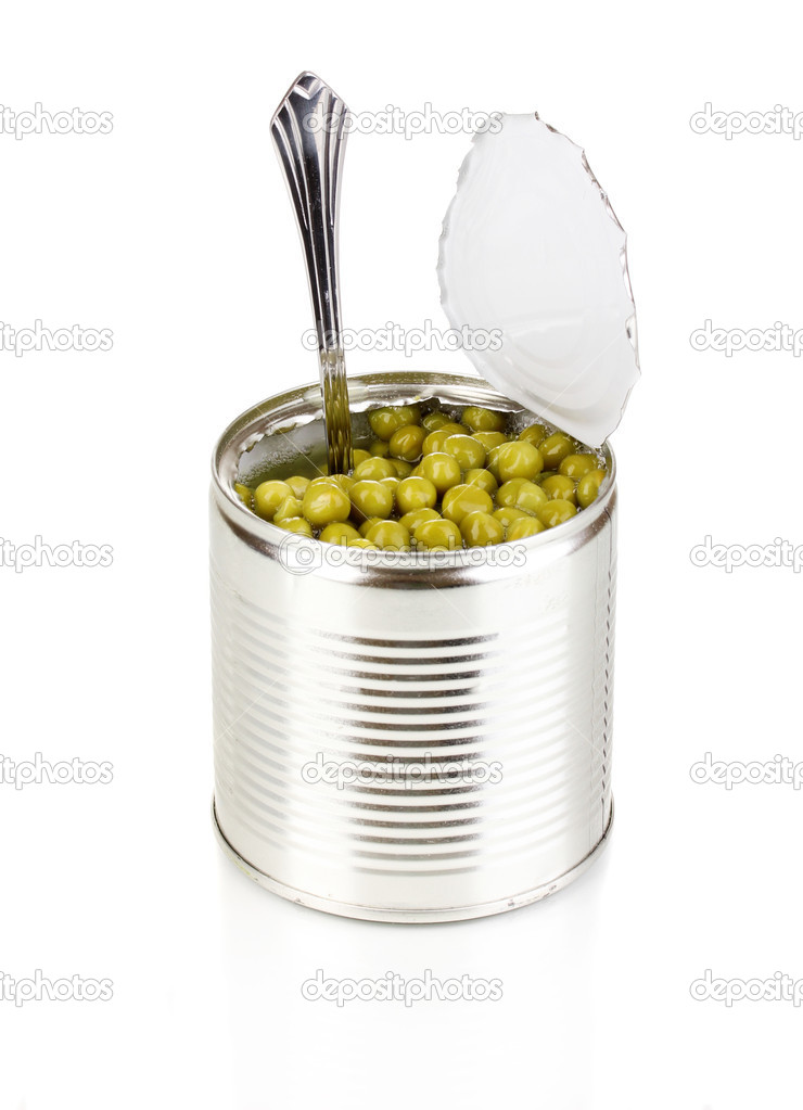 Open tin can of peas with spoon isolated on white — Stock Photo #10474898