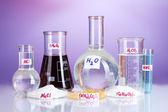 Tubos de ensayo con varios ácidos y productos químicos sobre fondo violeta — Foto de Stock
