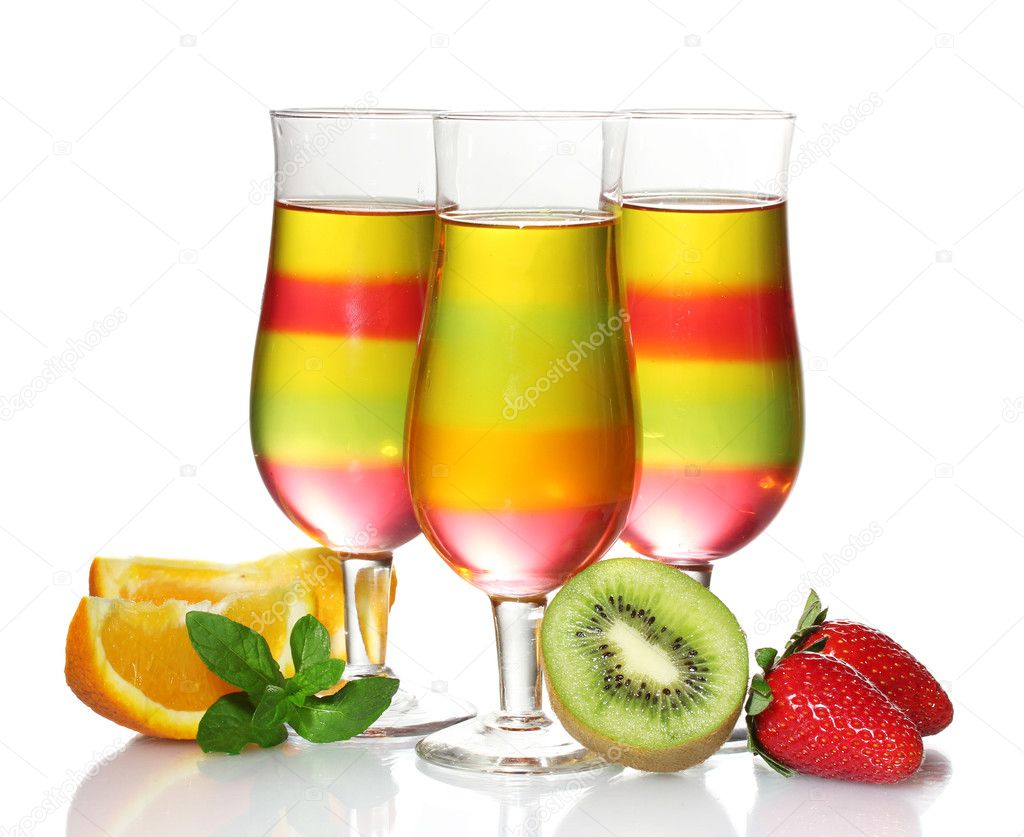 Fruit jelly in glasses and fruits isolated on white — Stock Photo ...