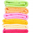 Colorful towels isolated on white - Stockfoto