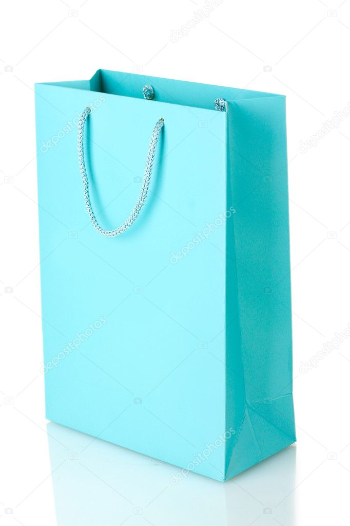 Blue shopping bag isolated on white — Stockfoto #10554653