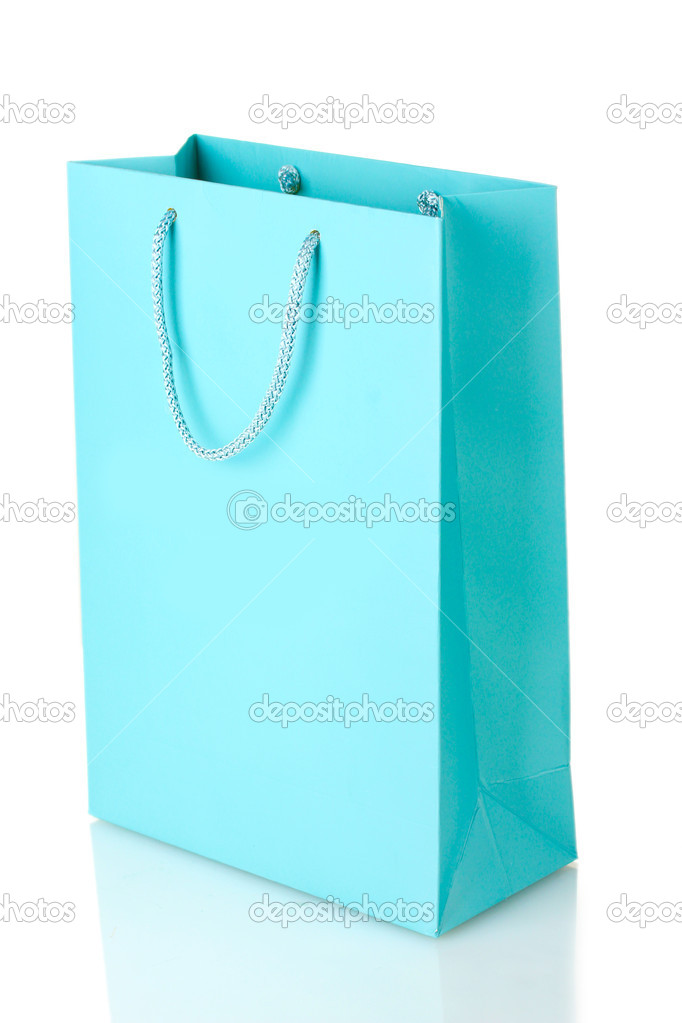Blue shopping bag isolated on white — Photo #10554653