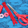 Sewing accessories on fabric - Stockfoto