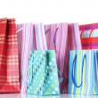 Bright shopping bags isolated on white — Foto Stock