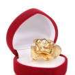 Gold ring with golden flower and clear crystals in red velvet box isolated on white — Stock Photo #10586687
