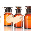 Medicine bottles with blank labels isolated on white - 图库照片