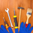 Stock Photo: Set of tools and instruments on wooden background