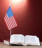 Bandera americana en el stand y libros sobre la mesa de madera sobre fondo rojo — Foto de Stock