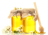 Sweet honey in jars and acacia flowers isolated on white — Stock Photo