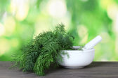 Dill in a mortar and pestle on green background — Stock Photo