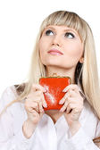 Woman with red wallet isoleted on white — Stok fotoğraf