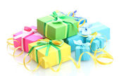 Bright gifts with bows isolated on white — Stok fotoğraf