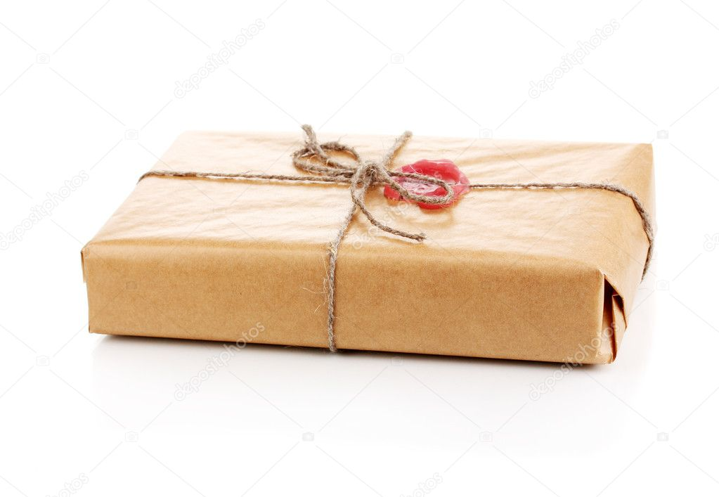 Parcel with sealing wax isolated on white — Stock Photo #10586551