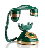 Retro phone with floating handset isolated on white — Stock Photo