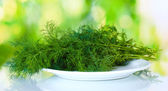 Dill in a white plate on green background — Stok fotoğraf