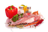 Raw meat and vegetables isolated on whitе — Stockfoto