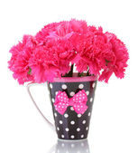 Bouquet of carnations in a cup isolated on white — Stock Photo