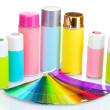 Aerosol cans and bright paper palette isolated on white - Stockfoto