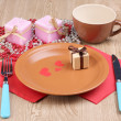 Table setting on wooden background — Foto Stock
