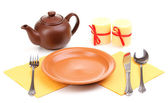 Table setting isolated on white — 图库照片