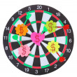 Darts with stickers depicting the life values isolated on white. The darts hit the target. — Stock Photo #10611180