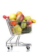 Asortyment egzotycznych owoców w koszyk na białym tle — Zdjęcie stockowe