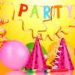 Party items on orange background — Foto Stock