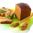 Stock Photo: Fresh pate on bread on green plate isolated on white