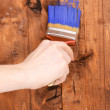 Painting wooden fence with yellow paint — Stock Photo #10653846