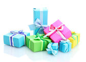 Bright gifts with bows isolated on white — Стоковое фото