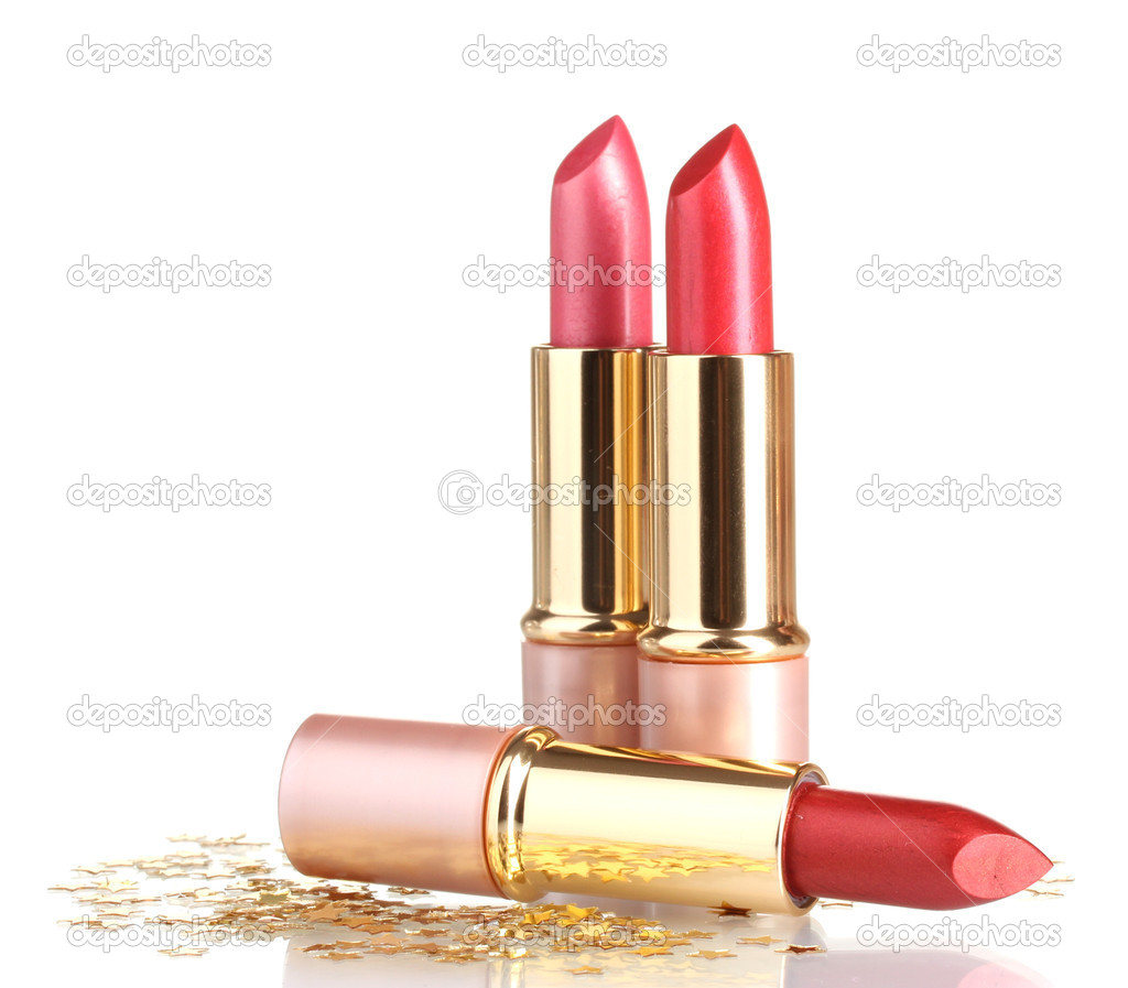 Beautiful red lipsticks isolated on white — Stok fotoğraf #10653282